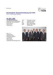 Gemeinderat: Zusammensetzung seit 1919 - Thun