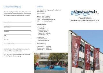 Flyer Bachschule - Bachschule Feuerbach