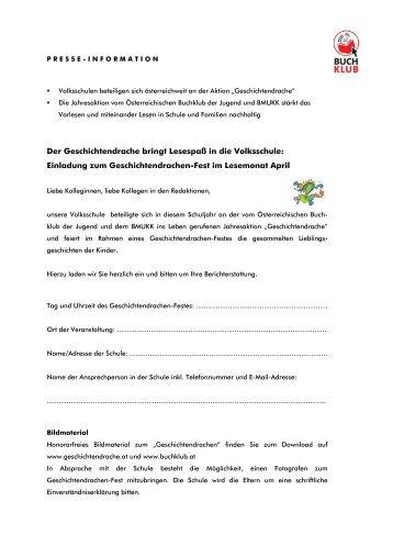 Einladung und Presse-Information Geschichtendrache