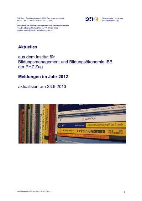 Aktuelles 2012 (pdf) - Institut für Bildungsmanagement und ...