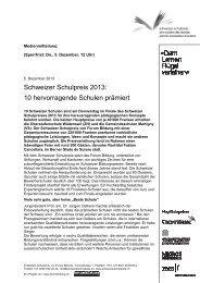 Zur Medienmitteilung des Schweizer Schulpreises