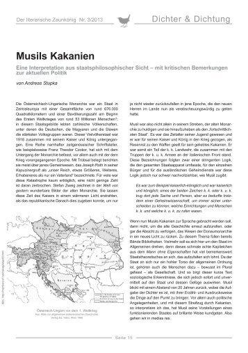 Andreas Stupka: Musils Kakanien - Erika Mitterer Gesellschaft