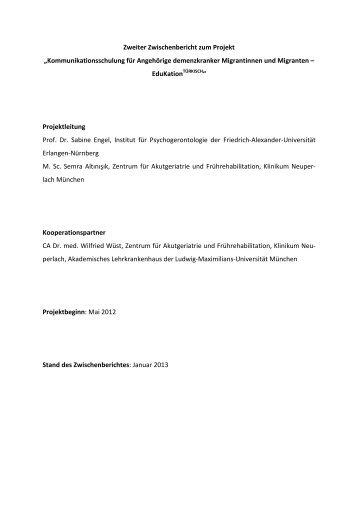 Zweiter Zwischenbericht des Projekts vom Januar 2013 - Deutsche ...