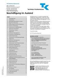 Beratungsblatt Beschäftigung im Ausland - Techniker Krankenkasse