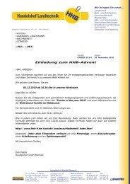 Einladung zum HHB-Advent - Handelshof Landtechnik GmbH