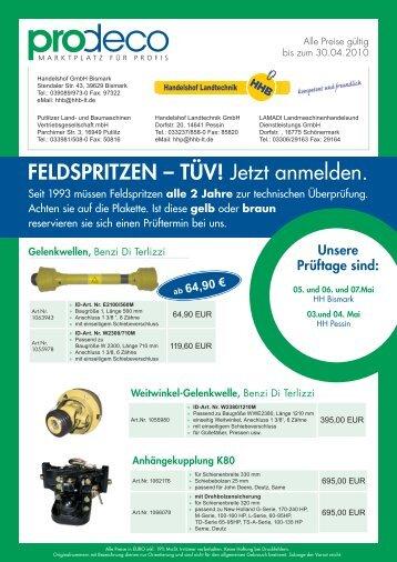 FELDSPRITZEN – TÜV! Jetzt anmelden. - Handelshof Landtechnik ...