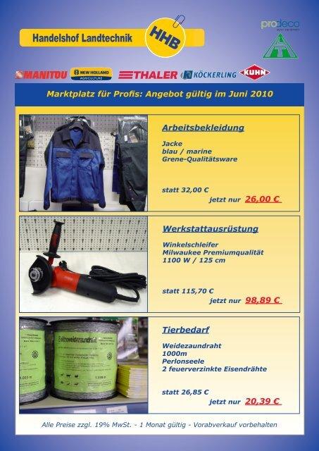 Marktplatz für Profis: Angebot gültig im Juni 2010 Arbeitsbekleidung ...