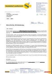 Rundschreiben - Handelshof Landtechnik GmbH