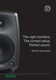 Get the most from your monitors with this Genelec Monitor setu - HHb