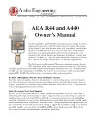 AEA R44 and A440 Owner's Manual - HHb