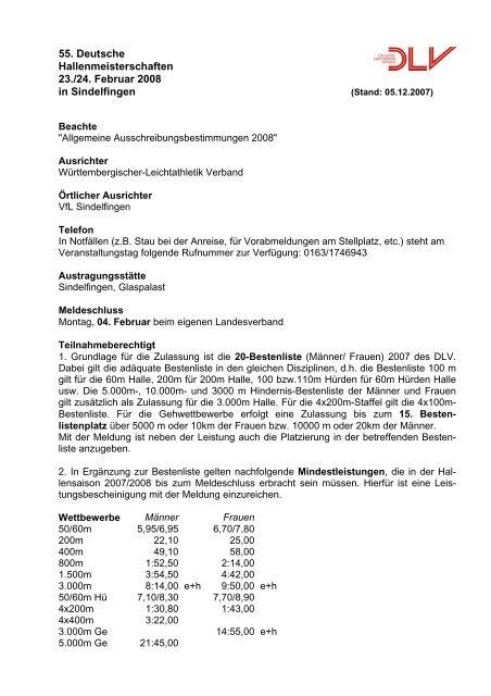 55. Deutsche Hallenmeisterschaften 23./24. Februar 2008 in ...