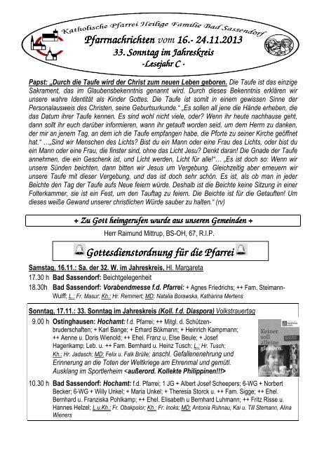Der Pfarrbrief vom 16.11.2013 bis 24.11.2013 - Pfarrei Heilige ...