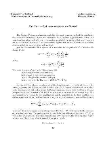 Hartree-Fock Approximation and Beyond