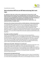 Naturschutzbund NÖ lud zum NÖ Naturschutztag 2013 nach Tulln