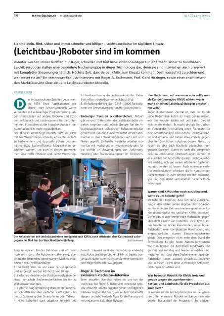 (Leichtbau-)Roboter sind im kommen - Bachmann Engineering AG
