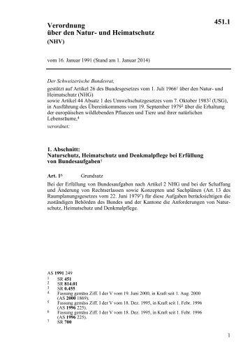 Verordnung über den Natur- und Heimatschutz 451.1 - admin.ch