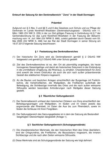 Satzungsentwurf - Stadt Dormagen