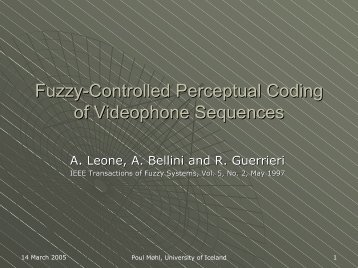 Fuzzy-Controlled Perceptual Coding of Videophone Sequences
