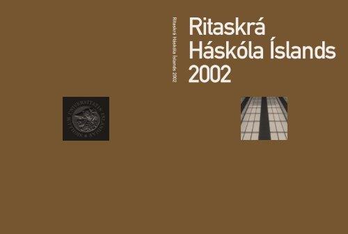 Ritaskra Ha Ska La A Slands 2002 Ha Ska Li A Slands