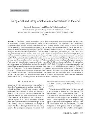 Subglacial and intraglacial volcanic formations in Iceland