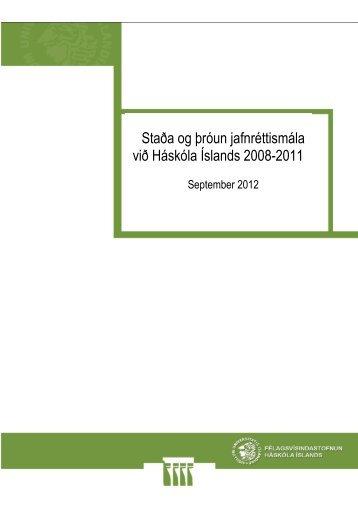 Staða og þróun jafnréttismála - Háskóli Íslands