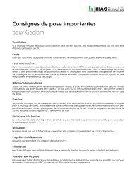 Consignes de pose importantes pour Geolam - HIAG Handel AG