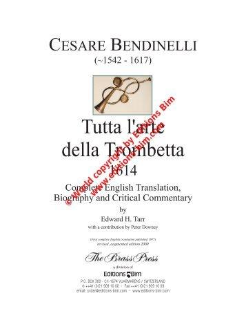 Cesare Bendinelli: Tutta l'arte della Trombetta - Hickeys Music Online
