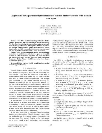 Algorithms for a Parallel Implementation of Hidden ... - HiCOMB