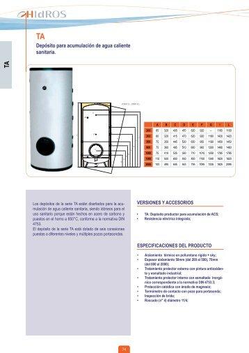 Depósito para acumulación de agua caliente sanitaria.