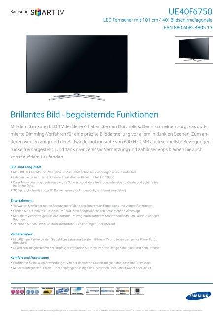 Samsung Ue40f6750 Pdf Hifi Im Hinterhof