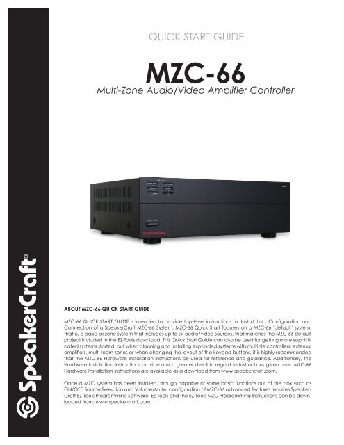 SPEAKERCRAFT AUDIO MZC DATA UPGRADE//PROGRAM CABLE