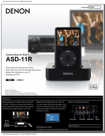 ASD-11R Control Dock for iPod - DENON Brand Company - Hifi Gear