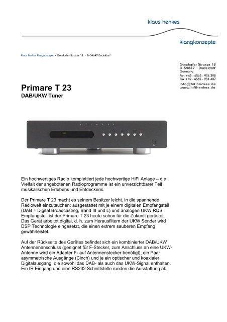 Primare T 23 - Klaus Henkes Klangkonzepte