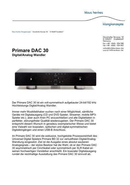 Primare DAC 30 - Klaus Henkes Klangkonzepte