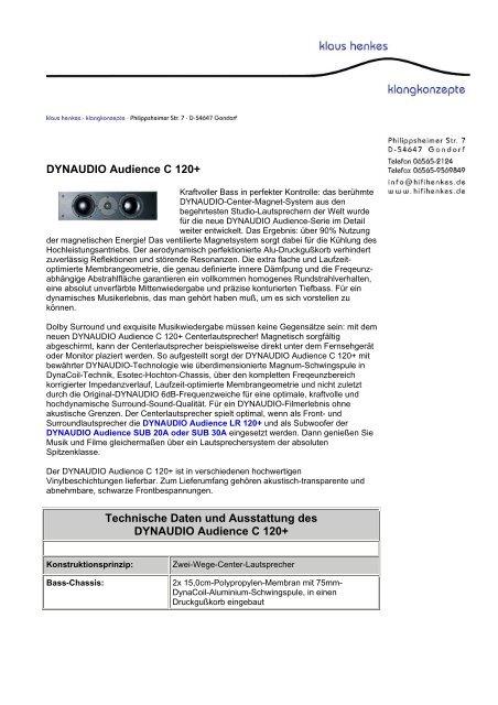 DYNAUDIO Audience C 120+ Technische Daten und Ausstattung ...