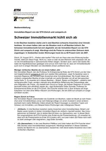 Immobilien Report ETH Zürich und comparis.ch vom August 2013
