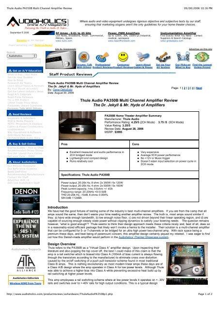 de820a665 Thule Audio PA350B Multi Channel Amplifier Review - Hi-Fi Klubben