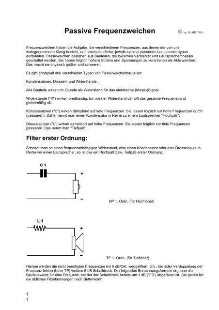 SUB-WOOFER FREQUENZWEICHE BASS-WEICHE TP HP 2-WEG 12dB
