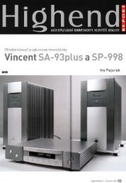 Test - Vincent SP 998 v českého magazínu High End ... - Hifi on Line