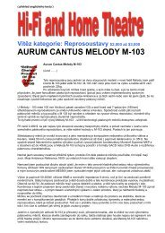 AURUM CANTUS MELODY M-103 - Test Hi-Fi and ... - Hifi on Line