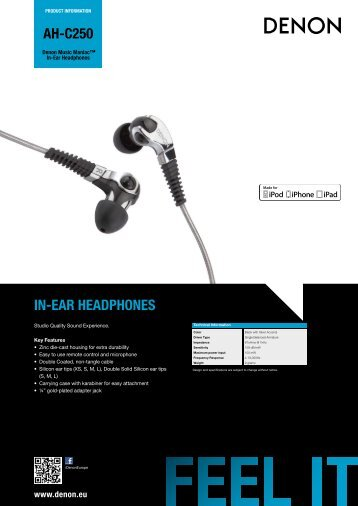 AH-C250 Product Information Sheet - DENON UK