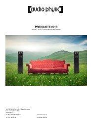 Preisliste AUDIO PHYSIC Schweiz 2013 - Hi-Fi Sulzer
