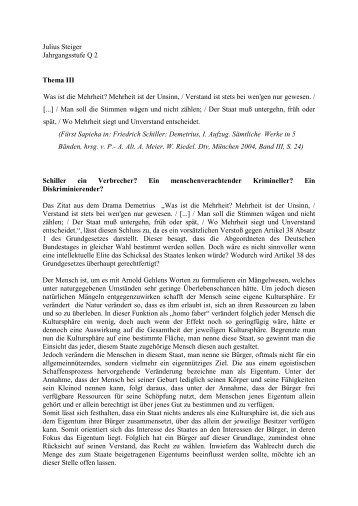 Julius Steiger Jahrgangsstufe Q 2 Thema III Was ist ... - Goetheschule