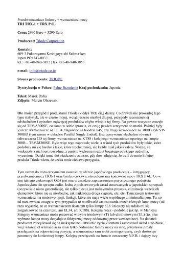 Przedwzmacniacz liniowy + wzmacniacz mocy TRI ... - High Fidelity