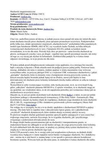 Słuchawki magnetostatyczne Audeze LCD3 Cena (w ... - High Fidelity