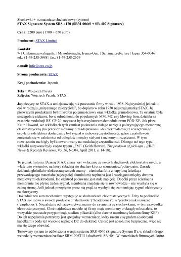 STAX Signature System SRS-4170 (SRM-006tS + ... - Grobel Audio