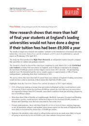 New research shows that more than half of final year ... - High Fliers