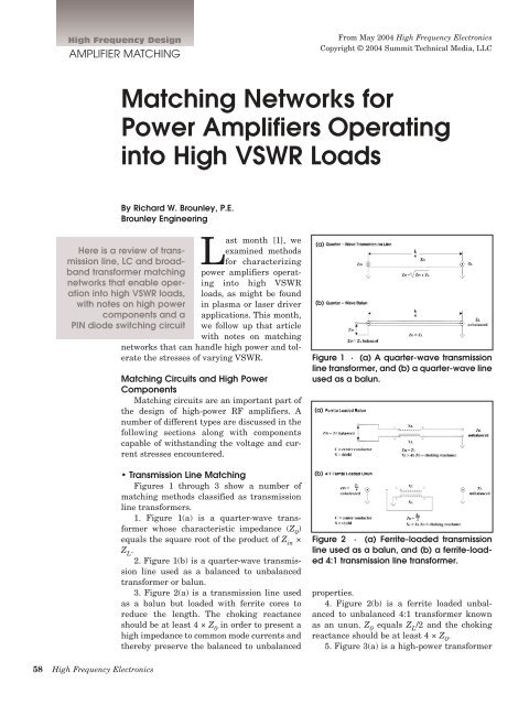 Matching Networks for Power Amplifiers Operating into High VSWR