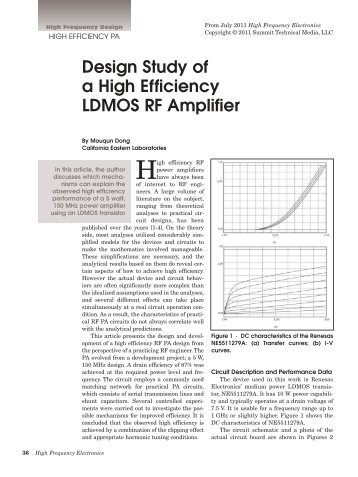 Design Study of a High Efficiency LDMOS RF Amplifier