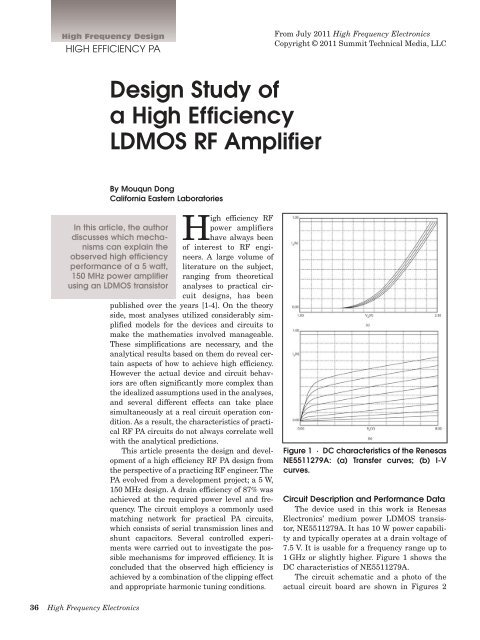 Design Study of a High Efficiency LDMOS RF Amplifier